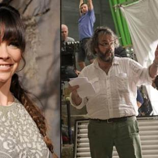 Evangeline Lilly at 'The Hobbit: The Desolation of Smaug' premiere in LA, and on the set with Peter Jackson (right) -- Warner Bros