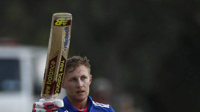 England's Root celebrates his century during the third One Day International cricket match against South Africa in Pretoria