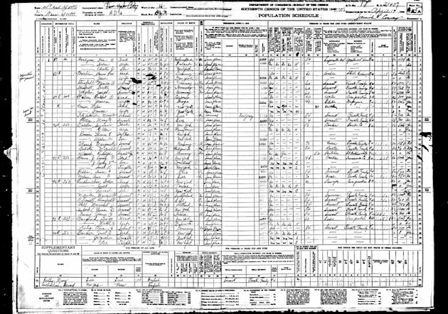 This image taken from microfilm and provided by Ancestry.com shows a 1940 U.S. Census ledger page that includes an entry for Jacqueline Bouvier. Boubier, who became Jacqueline Kennedy when she married John F. Kennedy is one of the many notable New Yorkers whose name will come up electronically if searched on the Internet when the 1940 U.S. Census becomes searchable by family names at midnight, Wednesday, June 5, 2012. (AP Photo/Ancestry.com)