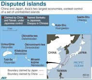 "A map showing islands claimed by both Japan and China. Japan protested to China on Wednesday as a new diplomatic row flared over a remote chain of islands, with Beijing asserting its ""indisputable sovereignty"" over the uninhabited territories"