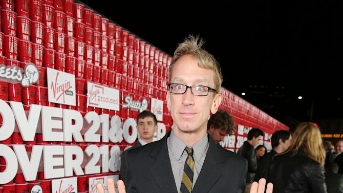 """Andy Dick arrives at the LA premiere of """"21 and Over"""" at the Westwood Village Theatre on Thursday, Feb. 21, 2013 in Los Angeles. (Photo by Eric Charbonneau/Invision/AP)"""