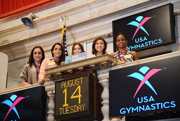 2012 U.S. Women's Gymnastics Olympic Gold Medal Team Rings The NYSE Closing Bell