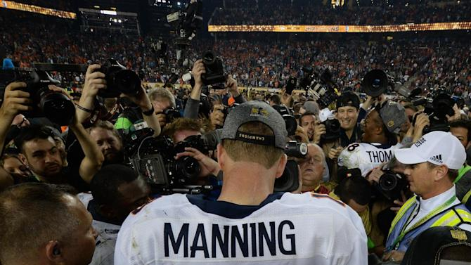 Quarterback Peyton Manning of the Denver Broncos following victory over the Carolina Panthers in Super Bowl 50 at Levi's Stadium in Santa Clara, California February 7, 2016
