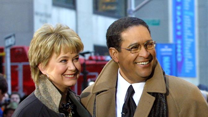 """FILE - This Jan. 14, 2002 file photo shows former NBC """"Today"""" show co-hosts Jane Pauley, left, and Bryant Gumbel, during the morning show's 50th anniversary in New York. NBC says that Pauley and Gumbel will join Matt Lauer for Monday's show on Dec. 30. Gumbel left NBC's morning show in 1997 after 15 years, and Pauley left in 1989 after 13 years with """"Today."""" They anchored the show together for seven years. Pauley isn't a stranger to """"Today"""": She returns each month for a segment that looks at Americans over 50 who start new careers.(AP Photo/Stuart Ramson, File)"""