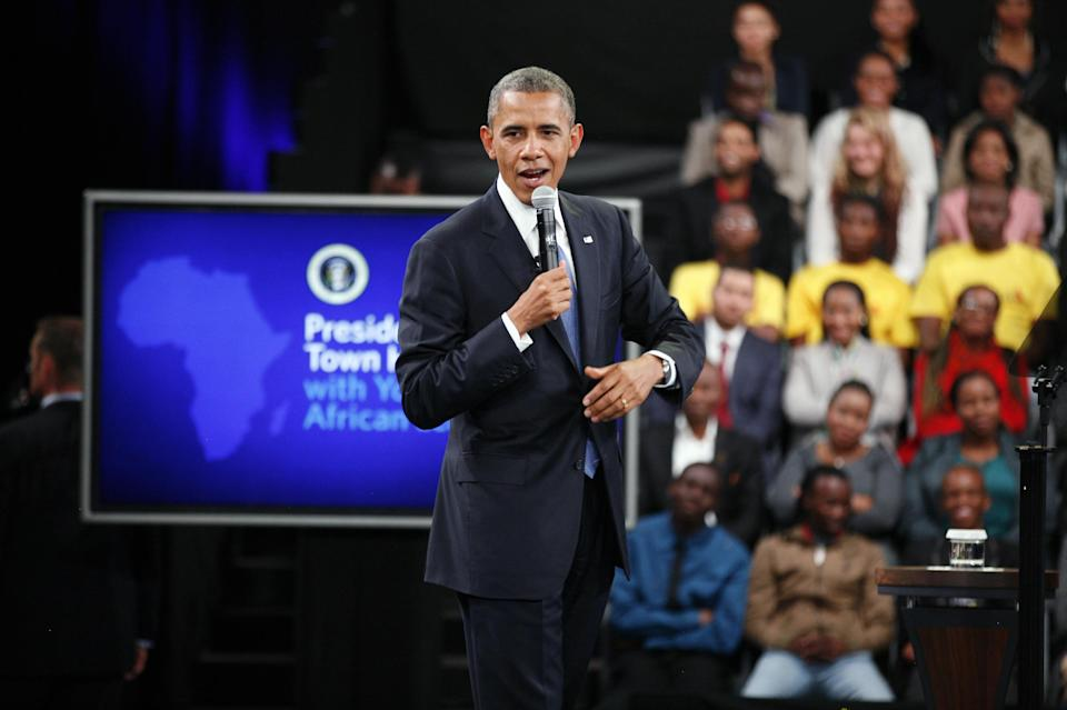 U.S. President Barack Obama delivers remarks and takes questions at a town hall meeting with young African leaders at the University of Johannesburg Soweto campus, South Africa, Saturday June 29, 2013.(AP Photo/Jerome Delay)