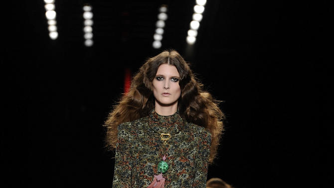 A model wears a creation for Just Cavalli women's Fall-Winter 2013-14 collection, part of the Milan Fashion Week, unveiled in Milan, Italy, Thursday, Feb. 21, 2013. (AP Photo/Giuseppe Aresu)