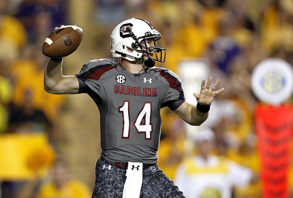 South Carolina quarterback Connor Shaw passes during the first half of an NCAA college football game against LSU in Baton Rouge, La., Saturday, Oct. 13, 2012. (AP Photo/Gerald Herbert)