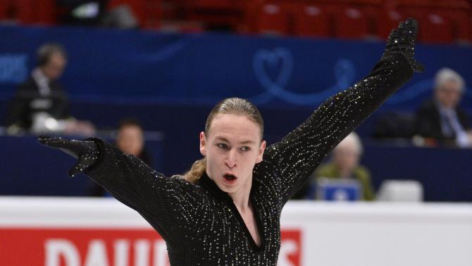 Larry Loupolover of Azerbaijan performs during the men's free program at the European Figure Skating Championships in Stockholm