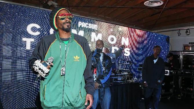 "IMAGE DISTRIBUTED FOR PACSUN - Snoop Dogg performs at PacSun's ""Common Threads"" event held at Lot 613 Saturday, December 1, 2012. (Photo by Casey Rodgers/Invision for PacSun/AP Images)"