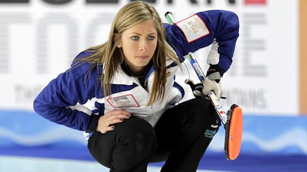 Scotland&#39;s skip Eve Muirhead watches a stone during their World Women&#39;s Curling Championship qualification round match against Switzerland in Riga (Reuters)