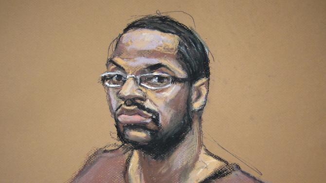 FILE - This file photo of an Aug. 30, 2012 courtroom sketch shows Ronell Wilson in federal court in the Brooklyn borough of New York, where he was convicted in the execution-style slaying of two undercover police officers. The Justice Department, after learning that an appeals court threw out a death sentence for Wilson in 2011, decided to again seek death with a new jury rather than let the defendant serve an automatic life term. Court officials say since then, at least $1.6 million in taxpayer money has gone to lawyers' fees and other expenses. (AP Photo/Jane Rosenberg, File)