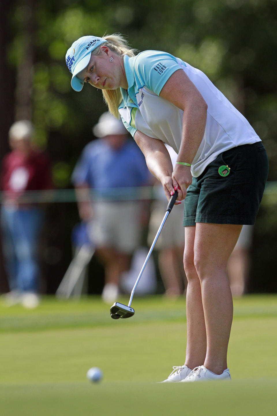 Brittany Lincicome putts on the 18th green during the third round of the Mobile Bay LPGA Classic golf tournament, Saturday, April 28, 2012, in Mobile, Ala. (AP Photo/Press-Register, Bill Starling) MAGS OUT
