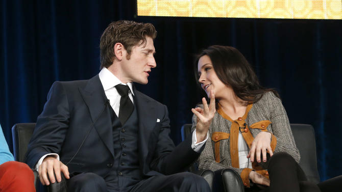 Lucas Neff and Shannon Woodward attend the Fox Winter TCA Tour at the Langham Huntington Hotel on Tuesday, Jan. 8, 2013, in Pasadena, Calif. (Photo by Todd Williamson/Invision/AP)
