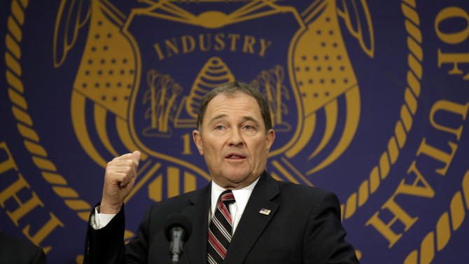 Utah Gov. Gary Herbert makes remarks during Medicaid expansion news conference Thursday, Feb. 27, 2014, in Salt Lake City. Herbert announced he wants to reject a full Medicaid expansion, and instead seek federal dollars to cover the poor. Herbert made the announcement Thursday afternoon, saying the state has an obligation to cover the poor by plugging a hole in the safety net. (AP Photo/Rick Bowmer)
