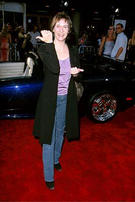 Amanda Plummer tries to figure out which way her thumbs are supposed to go at the Westwood, CA National Theatre premiere of Touchstone's Gone In 60 Seconds