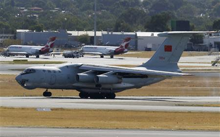 Chinese Ilyushin IL -76s aircraft lands at Perth International Airport after flying over the southern Indian Ocean as part of the continuing search for missing Malaysian Airlines flight MH370