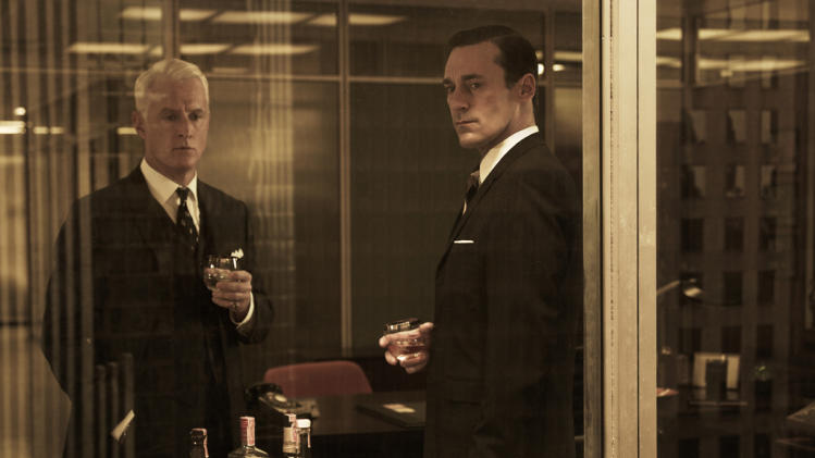 "John Slattery as Roger Sterling and Jon Hamm as Don Draper in ""Mad Men."""