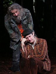 "This image released by The Public Theater shows Chip Zien, left, and Denis O'Hare in the Shakespeare in the Park production of ""Into the Woods,"" in New York. (AP Photo/The Public Theater, Joan Marcus)"