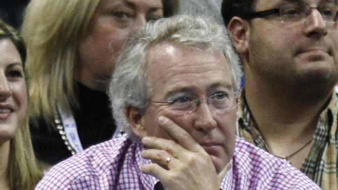 FILE- In this Sunday, Feb. 19, 2012, file photo, Aubrey McClendon, CEO and chairman of the board of Chesapeake Energy Corp., watches the Oklahoma City Thunder play the Denver Nuggets during an NBA basketball game in Oklahoma City. Chesapeake said Monday, June 8, 2012, that it plans to replace four of its existing board members in the next few weeks, including McClendon.  (AP Photo/Sue Ogrocki, File)