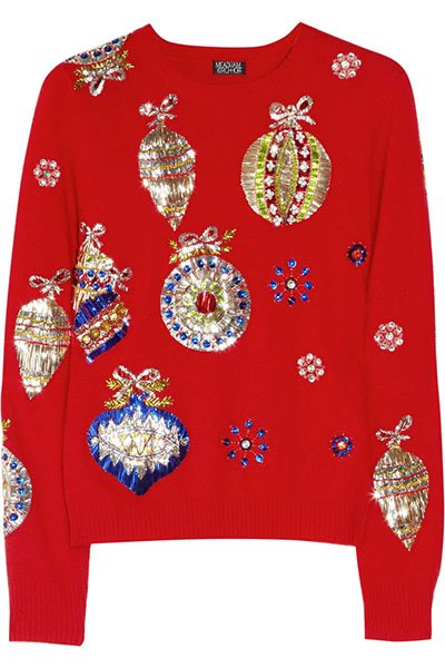 Meadham Kirchhoff red Maria metallic-embroidered knitted sweater, $1,395,  net-a-porter.com