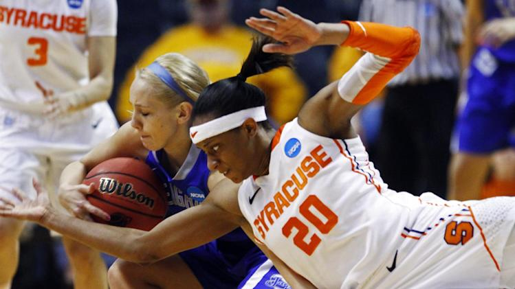 Syracuse guard Brittney Sykes (20) battles for the ball with Sammy Jensen of Creighton in the first half of a first-round game in the women's NCAA college basketball tournament on Saturday, March 23, 2013, in Knoxville, Tenn. (AP Photo/Wade Payne)