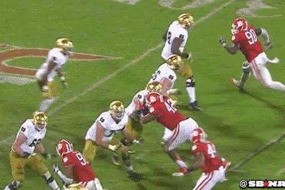 These 2 Notre Dame linemen gang tackled this Clemson DE, and he still beat them