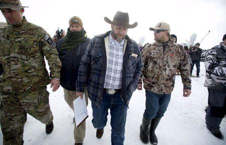 File photo of Ammon Bundy as he departs after addressing the media at the Malheur National Wildlife Refuge near Burns