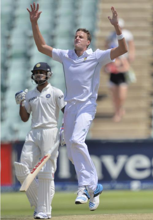 South Africa's Morkel reacts during the first day of their cricket test match against India in Johannesburg