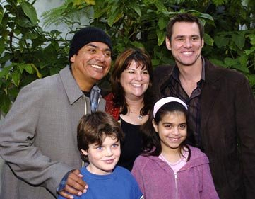 George Lopez with family and Jim Carrey at the Hollywood premiere of Paramount Pictures' Lemony Snicket's A Series of Unfortunate Events