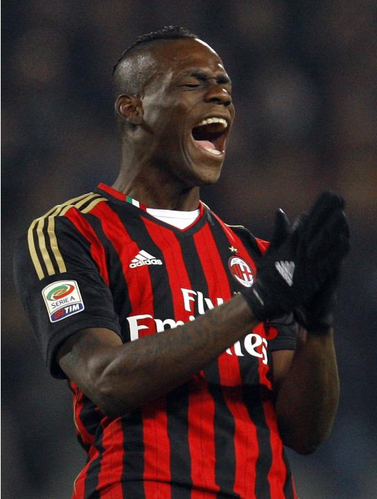 AC Milan's Balotelli reacts during their Italian Serie A soccer match against Udinese at Friuli stadium in Udine
