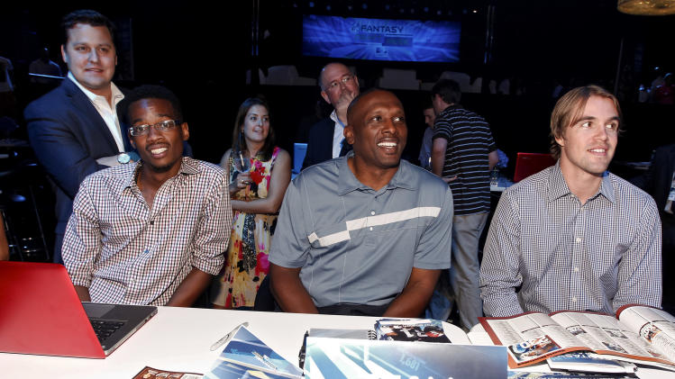 Former NFL player Tim Brown is seen during the DirecTV NFL Fantasy Week on Wednesday, Aug. 22, 2012 at the Best Buy theatre in Times Square in New York. (Photo by Brian Ach/AP Images for NFL)
