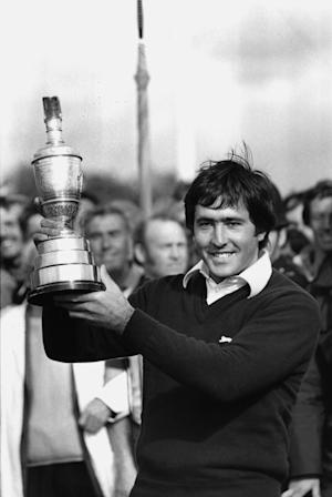 FILE - This July 21, 1979, file photo shows Seve Ballesteros, of Spain, holding the British Open golf championship trophy after winning the event at Royal Lytham and St. Anne's in Lancashire, England. Ballesteros died, early Saturday May 7, 2011 according to a statement on his website. The 54-year-old Spanish golf great had been resting at his home in Pedrena, northern Spain, where he has mostly been since undergoing four operations to remove a brain tumor in late 2008. (AP Photo, File)