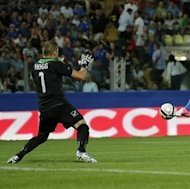 Italy forward Mattia Destro, right, scores a goal during a Group B World Cup qualifying soccer match between Italy and Malta, in Modena, Italy, Tuesday, Sept. 11, 2012. (AP Photo/Antonio Calanni)