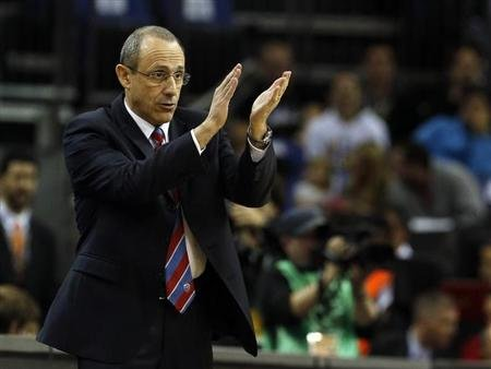 CSKA Moscow's head coach Ettore Messina reacts during their Euroleague Basketball Final Four third place game against Barcelona at the O2 Arena in London May 12, 2013. REUTERS/Suzanne Plunkett