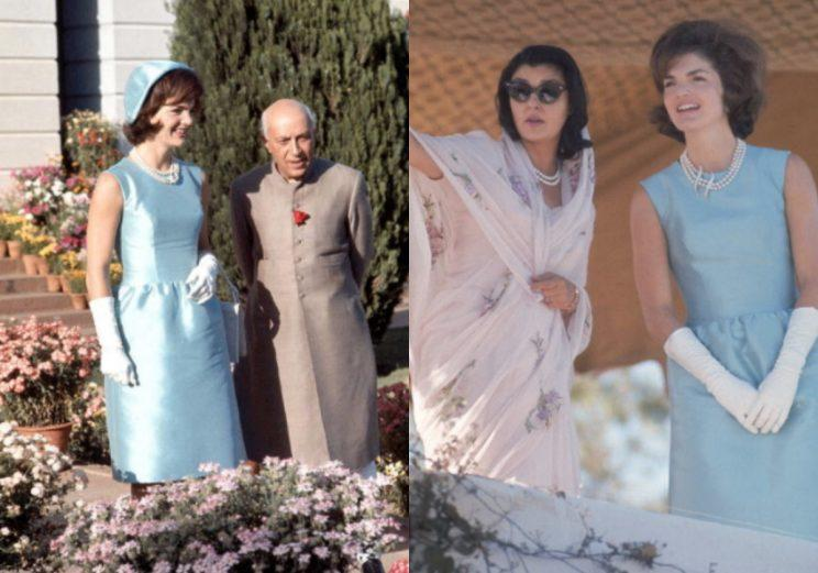 Melania Trump channels Jackie O in blue Ralph Lauren dress