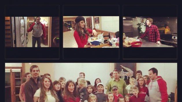 Jessa Seewald shared stills from the family's Christmas video on December 24, 2014. 'It's a very Merry Christmas Christmas Eve at the Duggar household! The gangs all here! @duggarfam @joshduggar @annaduggar @derickdillard @jillmdillard @ben_seewald @amyduggar,' she wrote -- Instagram