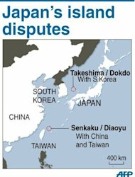 Graphic map showing the islands of Takeshima/Dokdo claimed by Japan and South Korea, as well as Senkaku/Diaoyu claimed by Japan and China