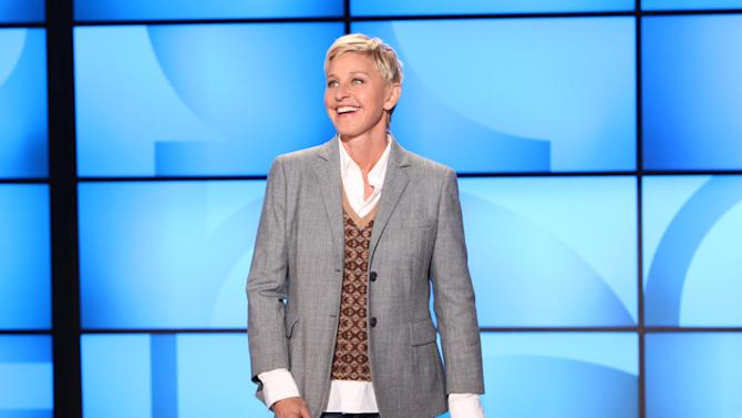 """FILE- This Sept. 26, 2011, file photo, originally provided by Warner Bros., shows Ellen DeGeneres during a taping of """"The Ellen DeGeneres Show"""" in Burbank, Calif. The Kennedy Center in Washington is awarding DeGeneres the Mark Twain Prize for American Humor on Oct. 22. The show will be broadcast on PBS stations Oct. 30. (AP Photo/Warner Bros., Michael Rozman, File)"""