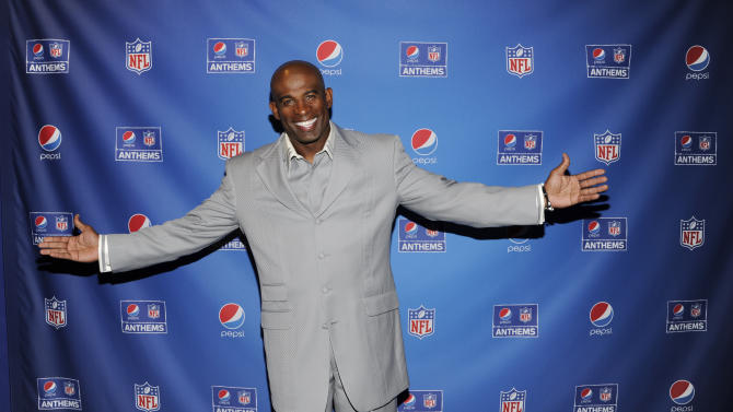 IMAGE DISTRIBUTED FOR PEPSI - Deion Sanders arrives at the Pepsi NFL Anthems Kickoff Eve on Tuesday Sept. 4, 2012, at the Hard Rock Cafe in New York. (Photo by Evan Agostini/Invision for Pepsi/AP Images)