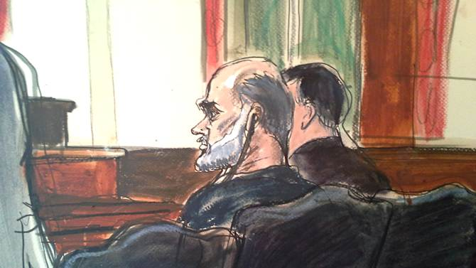 EDS NOTE: TIGHTER CROP. In this courtroom drawing, Osama bin Laden's son-in-law, Sulaiman Abu Ghaith, center, listens to a tranlator, as his federal defender,  left, speaks in U.S. federal court  Friday, March 8, 2013, in New York. Through his lawyer, Abu Ghaith pleaded not guilty to conspiracy to kill Americans in his role as al-Qaida's top spokesman. The case marks a legal victory for the Obama administration, which has long sought to charge senior al-Qaida suspects in U.S. federal courts instead of holding them at the military detention center at Guantanamo Bay, Cuba. (AP Photo/Elizabeth Williams)