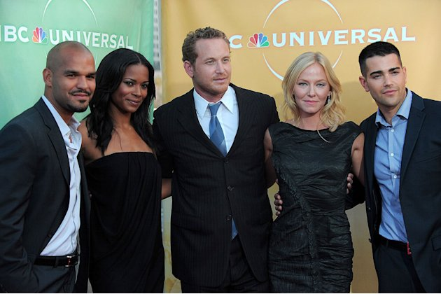 """The Chase's"" Amaury Nolasco, Rose Rollins, Cole Hauser, Kelli Giddish, and Jesse Metcalfe arrive at NBC Universal's 2010 TCA Summer Party on July 30, 2010 in Beverly Hills, California."