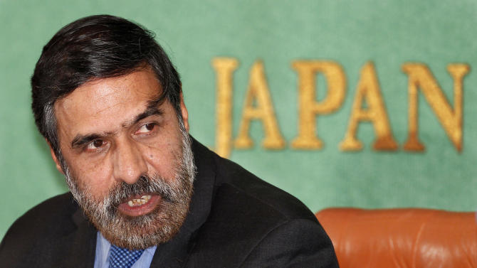 Indian Commerce Minister  Anand Sharma speaks during a press conference at the Japan National Press Club in Tokyo, Japan, Wednesday, Feb. 16, 2011.   The agreement, signed by Japanese Foreign Minister Seiji Maehara and Indian Commerce Minister Sharma Wednesday, will slash tariffs on goods from auto parts to bonsai plants, and introduces measures to promote investment. (AP Photo/Shizuo Kambayashi)