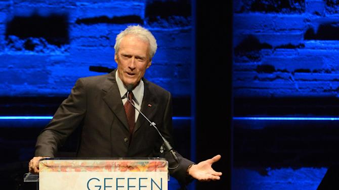 EXCLUSIVE CONTENT - IMAGE DISTRIBUTED FOR GEFFEN - Clint Eastwood speaks onstage at the Backstage at the Geffen gala at the Geffen Playhouse on Monday, May 13, 2013, in Los Angeles. (Photo by Jordan Strauss/Invision for Geffen/AP Images)