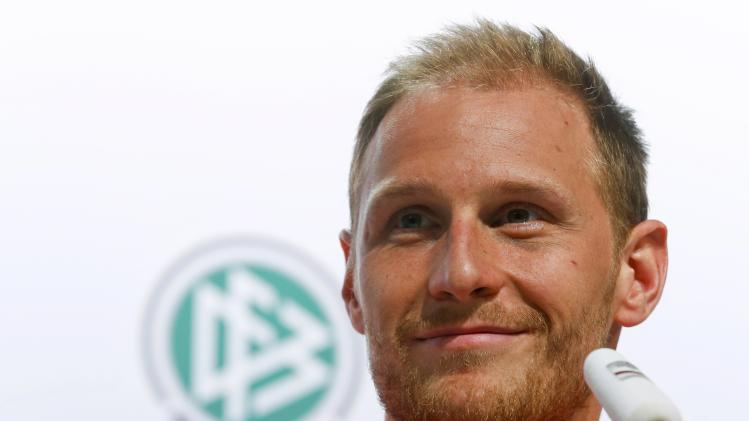 Germany's national soccer team player Hoewedes smiles during a news conference in the village of Santo Andre