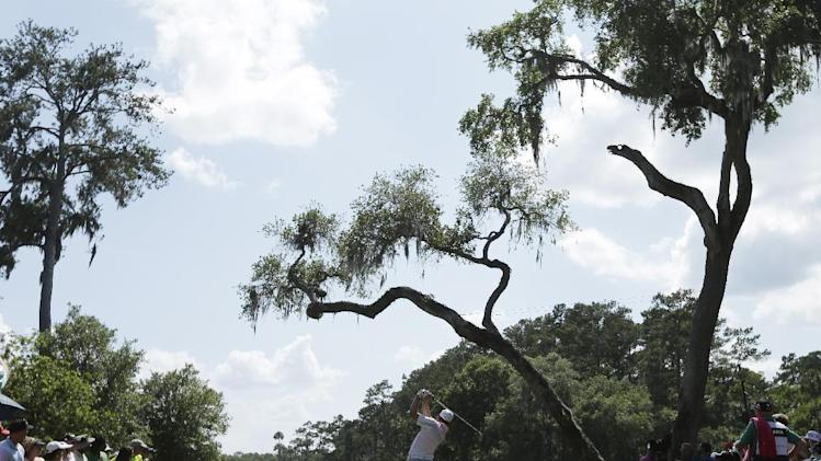 Sergio Garcia, of Spain, hits from the sixth tee during the final round of The Players championship golf tournament at TPC Sawgrass, Sunday, May 12, 2013, in Ponte Vedra Beach, Fla.  (AP Photo/Chris O'Meara)