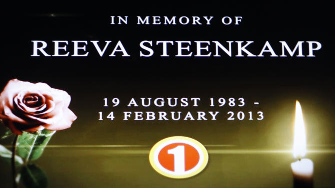 """In this frame-grab from state television channel SABC 1 a tribute is devoted to slain model Reeva Steenkamp, girlfriend of Olympic athlete Oscar Pistorius. South Africa's national broadcaster went ahead with the screening of  the  reality TV show """"Tropica Island of Treasure"""" Saturday, Feb 16, 2013, featuring the dead model. Steenkamp encouraged her family to watch in one of her last conversations with them before her shooting death at the  home of Pistorius. (AP Photo/Denis Farrell)"""