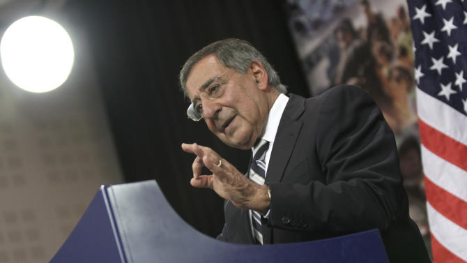 United States Defense Secretary Leon Panetta speaks during a media conference after a meeting of NATO defense ministers at NATO headquarters on Thursday, Oct. 6, 2011. Talks on Thursday will focus on the transition in Afghanistan and on plans to continue support of the Afghan government and troops after 2014. (AP Photo/Virginia Mayo)