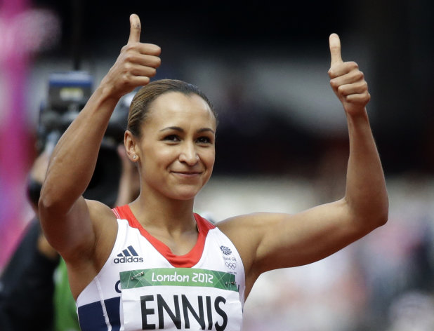 Britain's Jessica Ennis gestures after taking a throw in the javelin heptathlon during the athletics in the Olympic Stadium at the 2012 Summer Olympics, London, Saturday, Aug. 4, 2012. (AP Photo/Lee Jin-man)