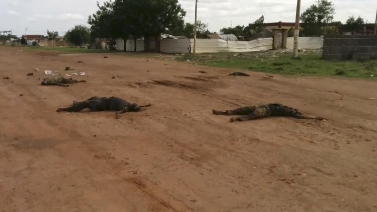"In this image taken from video, dead bodies lie on the road near Bentiu, South Sudan, on Sunday, April 20, 2014. The United Nations' top humanitarian official in South Sudan, Toby Lanzer, told The Associated Press in a phone interview on Tuesday, April 22, 2014, that the ethnically targeted killings are ""quite possibly a game-changer"" for a conflict that has been raging since mid-December and that has exposed longstanding ethnic hostilities. There was also a disturbing echo of Rwanda, which is marking the 20th anniversary this month of its genocide that killed 1 million people. (AP Photo/Toby Lanzer, United Nations)"