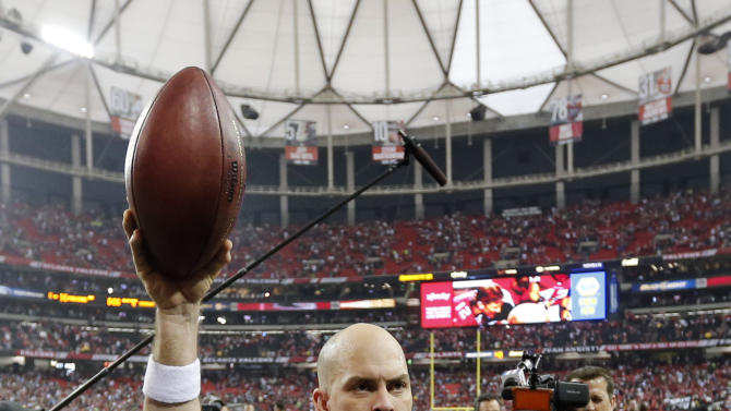 Atlanta Falcons kicker Matt Bryant (3) walks off the field after kicking the game-winning field goal during the second half of an NFC divisional playoff NFL football game against the Seattle Seahawks Sunday, Jan. 13, 2013, in Atlanta. The Falcons won 30-28. (AP Photo/John Bazemore)